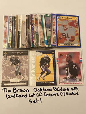 Tim Brown Oakland Raiders Hall of Fame WR (24) Card Lot (2) Inserts (1) Rookie Card. Set 1. for Sale in San Jose, CA