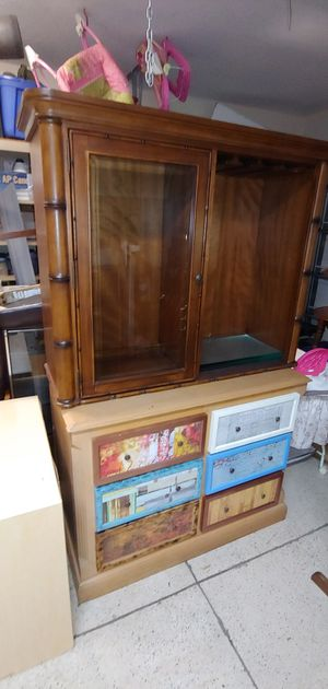 Buffet cabinet top with glass shelves for Sale in Bartow, FL