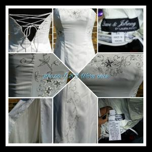 Dave&Johnny White Sheer Flower Wedding Dress for Sale in Granby, MO