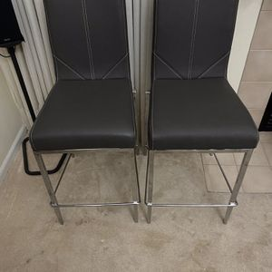 2 Gray Leather and Metal Counter Height Stool for Sale in Romeoville, IL