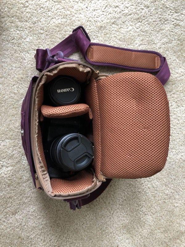 Canon Rebel T3i, 2 lenses, SD card, Photojojo camera bag