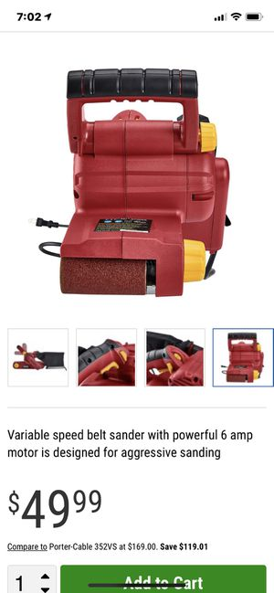 CHICAGO ELECTRIC 6 Amp 3 In. X 21 In. Belt Sander— Variable speed belt sander with powerful 6 amp motor is designed for aggressive sanding for Sale in Bakersfield, CA