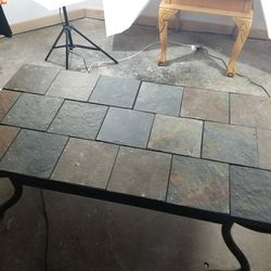 Stone tile top metal base center coffee table for Sale in Cambridge,  IL