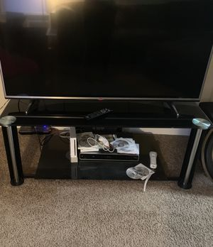 Large Glass TV Stand Only $75! Small Black Stand w/Stereo $80 for both! for Sale in Charlotte, NC