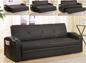 Sofa futon w/pullout bed & cupholders(faux leather) for Sale in Jurupa Valley, CA