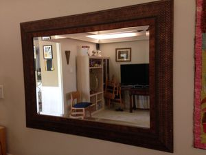 Brown wood framed wall mirror for Sale in Dallas, TX