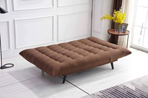 BROWN FABRIC FUTON SOFA ADJUSTABLE BED LOUNGE / SILLON CAMA TELA CAFE for Sale in Riverside, CA
