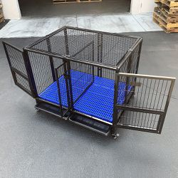 "New in Box $170 Folding Heavy-Duty Dog Crate 41""x31""x34"" Dual-Door Stackable Cage Kennel, Divider, Plastic Tray for Sale in Los Angeles,  CA"