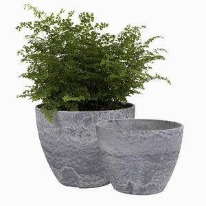 2 Flower Pots Indoor/Outdoor, Plant Container With Drain Hole, Gray Marble Pattern for Sale in Baltimore, MD