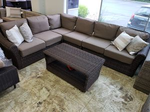 New 5pc outdoor patio furniture set sunbrella fabric tax included costco model for Sale in Hayward, CA