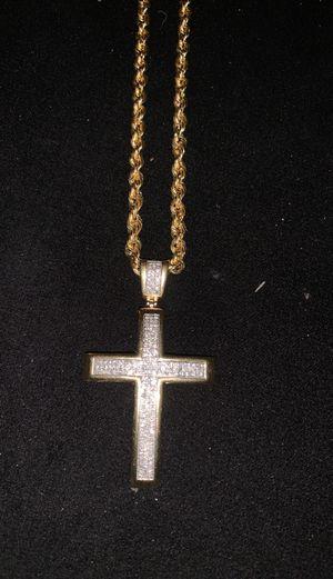 10k diamond Cross pendant & gold rope for Sale in Hampton, VA