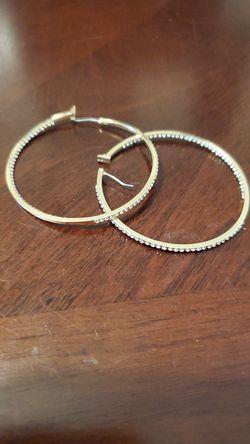 Gold ,diamond hoop earrings for Sale in Milton,  FL