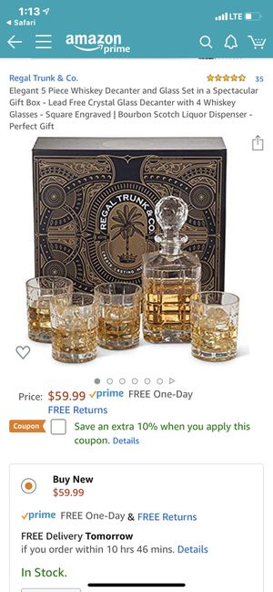 Regal Trunk CO. , Whiskey Decanter lead free crystal, 5 piece set for Sale in Renton, WA