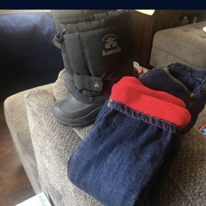 Snow Boots Size 10 Toddlers & Fleece Lined Pants 4t for Sale in Baldwin Park, CA