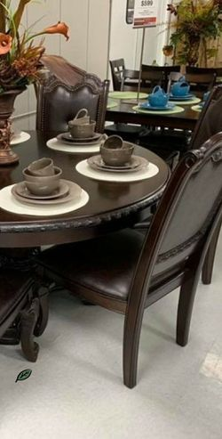 Only $39 Down  Payment 👈 Kiera Brown Formal Round Dining Set 5-Piece (Table+4 Side Chairs) for Sale in Laurel,  MD