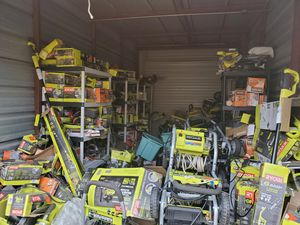 Storage building for sale 10x20 full over 30 power washers many others items pole saws, circular saws, saw saws Sanders and drills all brands 4000$ for Sale in Fort Worth, TX