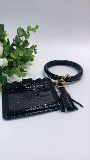 High Quality PU Leather Wristlet Keychain Wallet/Card Holder Big Circle, Black for Sale in Irvine, CA