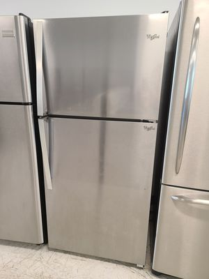 Whirlpool stainless steel top freezer refrigerator used good condition with 90 days warranty for Sale in Mount Rainier, MD