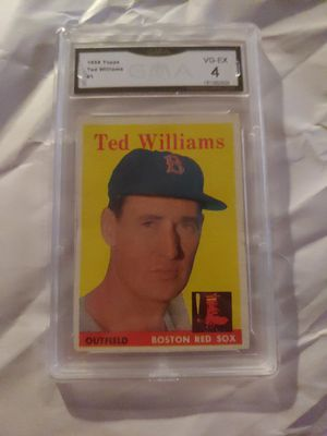 1958 Topps #1 Ted Williams Boston Red Sox HOF GMA 4 VG-EX great colors for Sale in Buffalo, NY