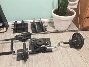 Weight set: curl bar, long bar, two sets of dumbbells, plus a pull up bar for Sale in South Gate, CA