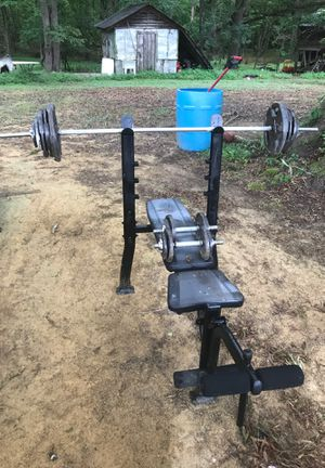Weight bench and adjustable dumbbells and weights for Sale in Rougemont, NC