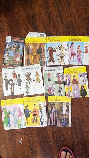 Halloween costume patterns $5 each for Sale in Los Osos, CA