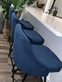 Navy Suede Barstools (set of 3) for Sale in New York,  NY