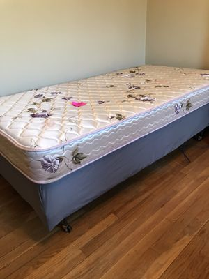 Twin bed: mattress box spring and metal frame for Sale in South Plainfield, NJ