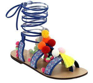 Chase & Chloe Simone-1 Women's Leg Wrap Tassel Pom-Pom Beads Flat Sandals for Sale in Arlington, VA