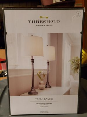 Threshold 2 Pack Satin/Silver Lamps - NEW for Sale in Dumfries, VA