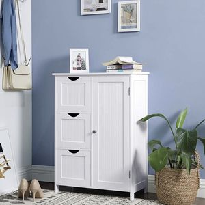 Storage Cabinet, Floor Cabinet with 3 Large Drawers and 1 Adjustable Shelf, 23.6 x 11.8 x 31.9 Inches, White for Sale in Corona, CA