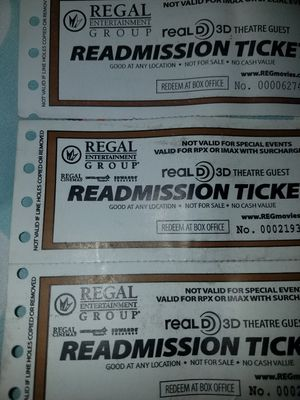Regal movie tickets 3D for Sale in West Springfield, VA
