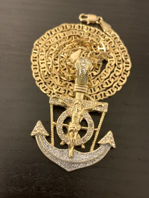 14k gold Mariner chain and anchor charm for Sale in Tampa, FL