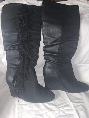 Black fringe wedge boot for Sale in Cherry Hill, NJ