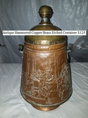 Antique Hammered Copper/Brass Etched Container $125 for Sale in Dresden, OH