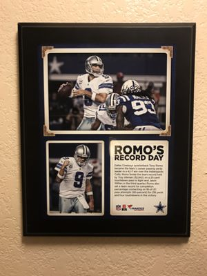 Tony Romo's Dallas Cowboy Plaque For His Record Breaking Performance for Sale in Chandler, AZ