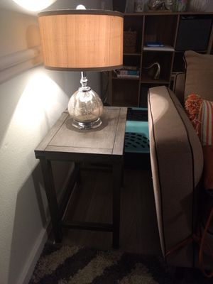 Matching lamp and end table set with glass art. for Sale in Austin, TX