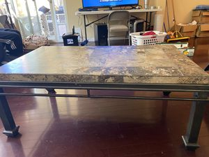 Coffee table and matching end table - stone with metal legs for Sale in San Diego, CA
