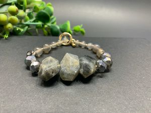 Irregular Natural Stone Open Bracelet Round Glass Beads Clasp Bracelet, Brown for Sale in Los Angeles, CA