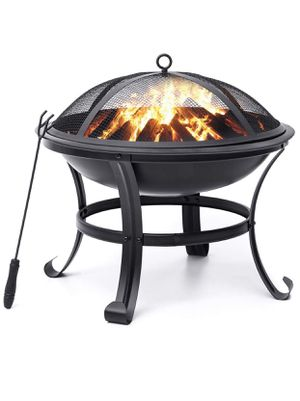 New Outdoor Fire Pit 22'' Steel Grill Bowl with Mesh Spark Screen Cover. Bonfire, BBQ, Backyard, Patio. for Sale in Chino, CA