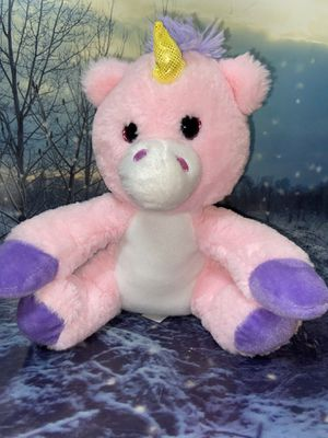"""Soft pink and purple unicorn pony 12"""" plush toy for Sale in Bellflower, CA"""
