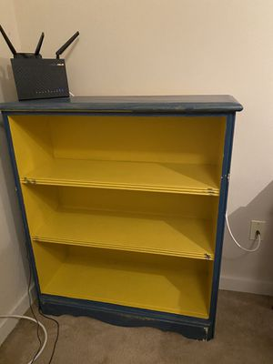 Set of 2 - matching yellow and blue painted wood bookshelves for Sale in Seattle, WA