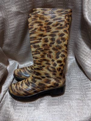 """Are You Wet?"" Cheetah Print Rain Boots Size 8 Women's for Sale in St. Louis, MO"