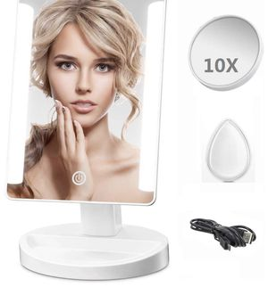 LED Lighted Makeup Mirror - Leadpo Dimmable Vanity Mirror with Detachable 10X Magnification Spot Mirror, Smart Touch Screen Travel Cosmetic Mirror wi for Sale in Plainfield, NJ