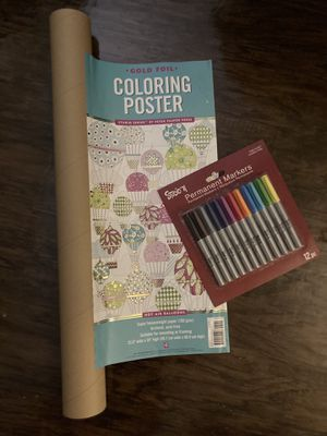 Adult coloring poster & markers for Sale in Dunedin, FL