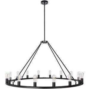 """Sonoro Round Rustic Chandelier 50"""" – Black w/Bulbs - Linea di Liara LL-CH5-50-5BLK for Sale in Mechanicsville, VA"""