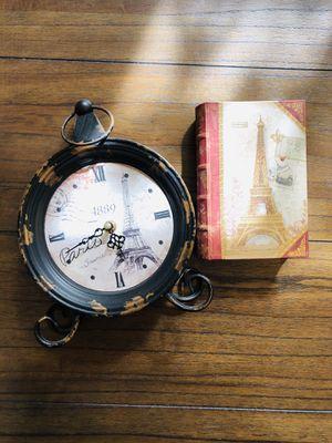 Vintage Paris Clock and Keepsake Box for Sale in Arlington, VA