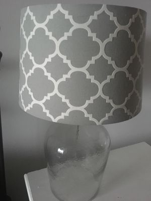 Table lamp. Clear base, grey patterned shade for Sale in Nashville, TN