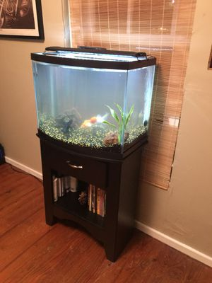 28gal Euro Fish Tank with Black Wooden Stand for Sale in Austin, TX