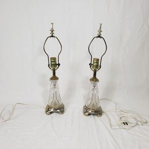 Antique glass lamp pair set crystal glass carved shaped unique for Sale in Windermere, FL